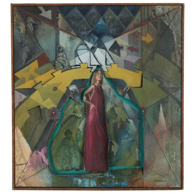 Dimensional Surrealist Style Oil Painting of Woman