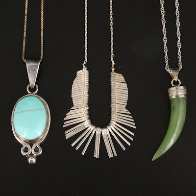 Necklaces Featuring Sterling Silver, Nephrite and Faux Turquoise
