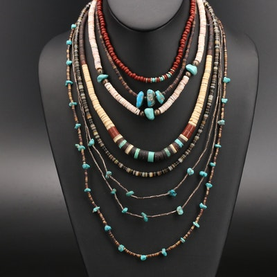 Necklaces with Sterling, Turquoise and Shell