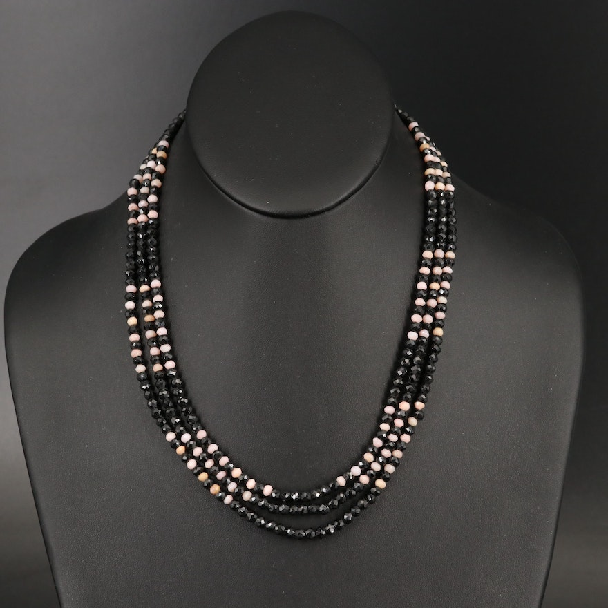 Sterling Spinel and Common Opal Triple Strand Bead Necklace