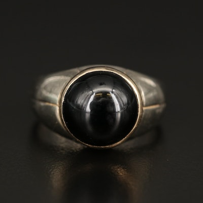 Sterling Silver Black Onyx Ring with 14K Bezel