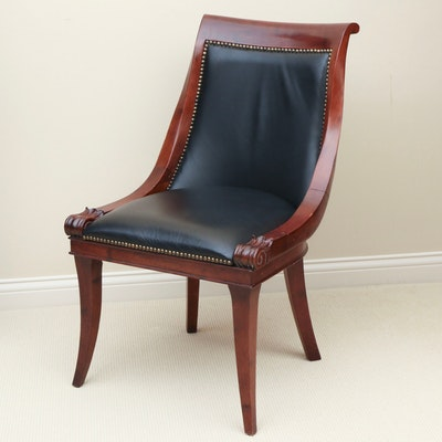 Bombay Company Regency Style Leather Upholstered Side Chair