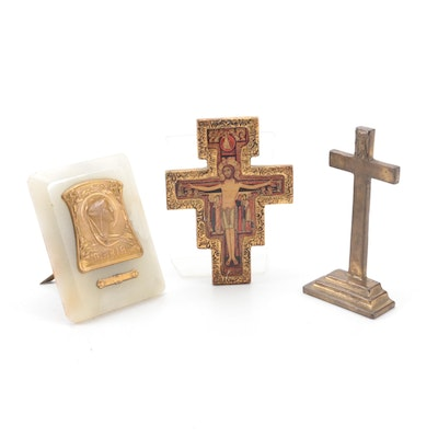 San Damiano Cross with Other Devotional Table Accessories, Mid to Late 20th C.