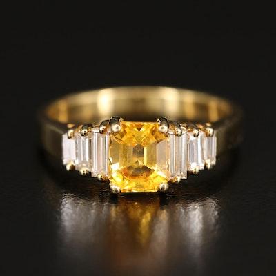 18K 1.39 CT Sapphire and Diamond Ring