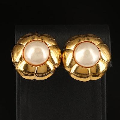 Chanel Faux Pearl Clip Earrings