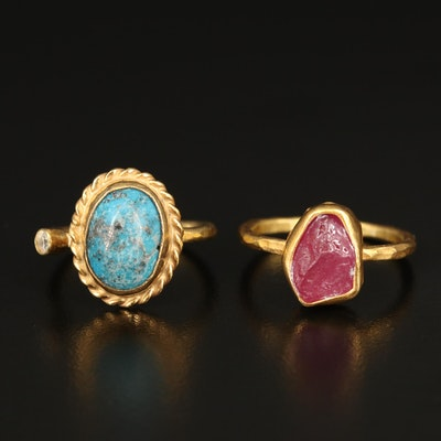 Sterling Turquoise, Corundum and Cubic Zirconia Rings