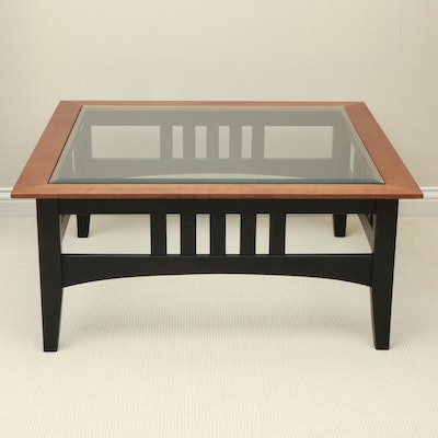 Mission Style Glass Top Wood Coffee Table