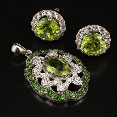 Sterling Earrings and Pendant with Peridot, Diopside, Topaz and Zircon
