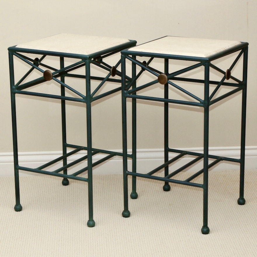 Green Finished Cast Metal Travertine Top Plant Stands