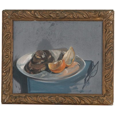 Still Life Oil Painting of Bread and Orange Slices, circa 1944
