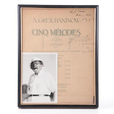 "Alexander Gretchaninov Signed ""Cinq mélodies Op. 1"" Sheet Music with Photo"
