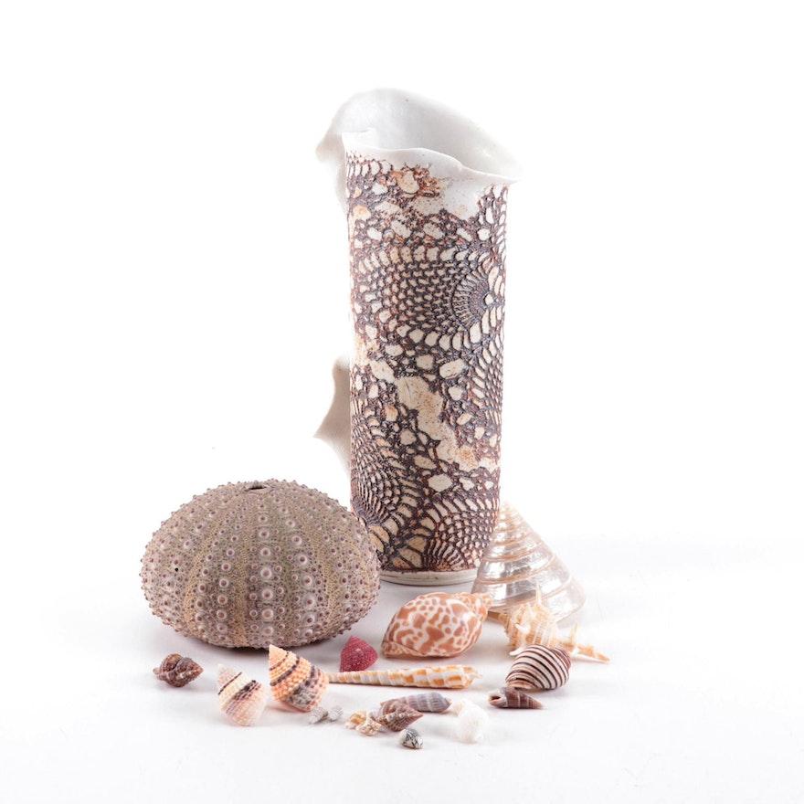 Evelyn Lamers Ceramic Vase with Seashells