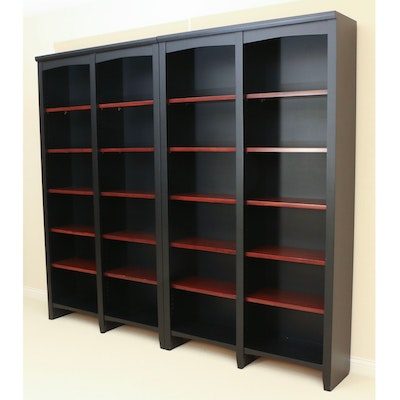 Pair of Contemporary Ebonized and Cherry-Stained Wood Bookcases