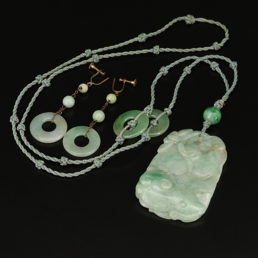 Chinese Carved Jadeite Necklace and Bi-Disk Earrings