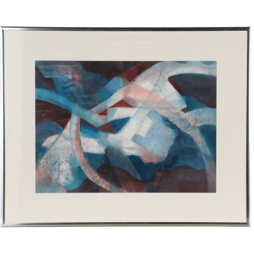 Jim Ladd Abstract Watercolor Painting, Late 20th Century