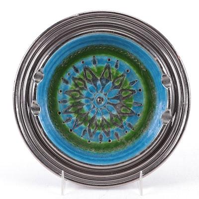 Aldo Lonsi for Bitossi Rimini Blu Ceramic Ashtray, Mid-20th Century