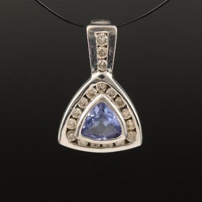 10K Bezel Set Tanzanite and Diamond Pendant
