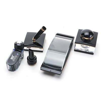 Montblanc Meisterstück Fountain Pen and Stand with Blotter, Inkwell and Ink