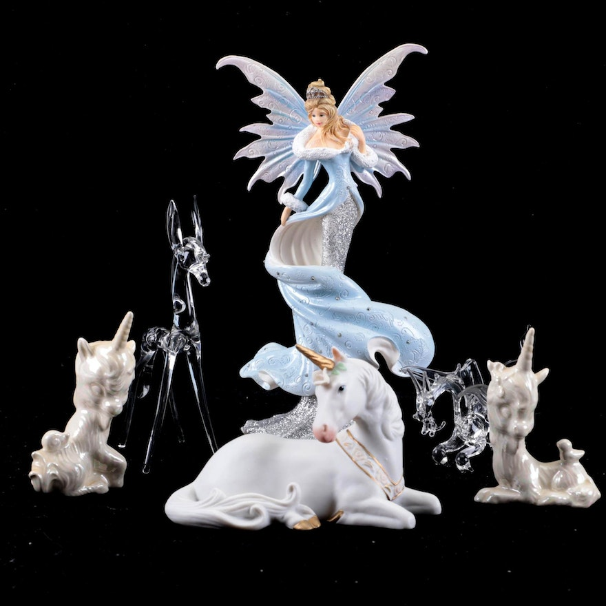 Lefton and Other Ceramic Unicorns with Glass and Resin Figurines