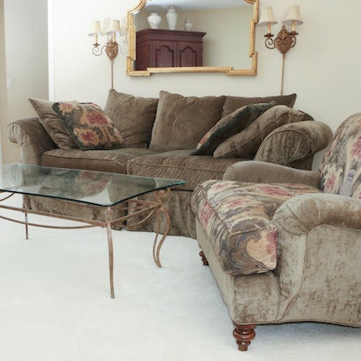 Upholstered Sofa and Armchair Including Accent Pillows