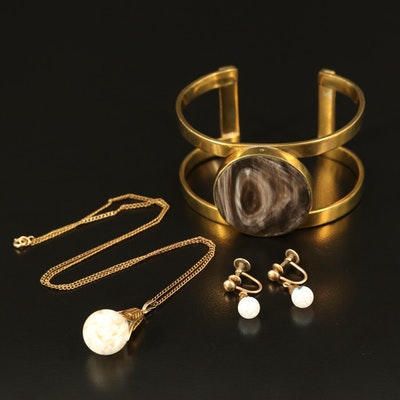 Floating Opal Necklace and Earrings with Horn Openwork Cuff