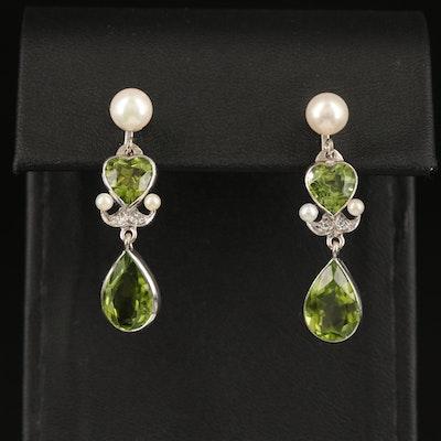 10K Peridot, Pearl and Diamond Earrings