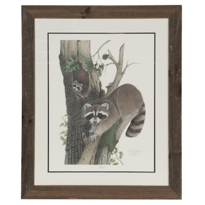 """Frank Reisiger Offset Lithograph """"Raccoon,"""" Late 20th Century"""