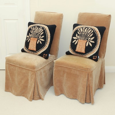 Pair of Slipcovered Parsons Chairs and Chandler 4 Corners Needlepoint Pillows