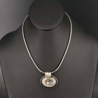 Mexican Sterling Silver Abalone Necklace