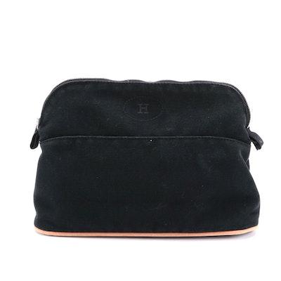 Hermès Medium Bolide Travel Pouch in Black Cotton Canvas