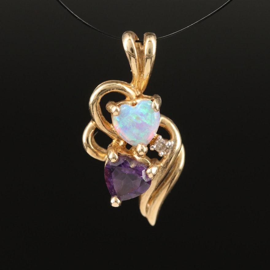 10K Opal, Amethyst and Diamond Double Heart Pendant