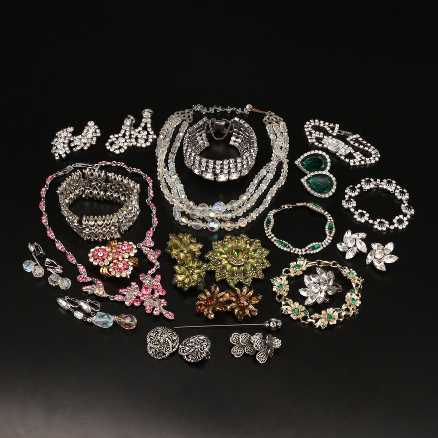 Vintage Rhinestone Jewelry Featuring Crown Trifari and Lewis Segal