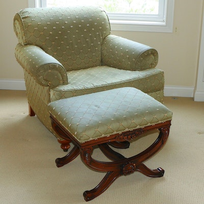 Drexel-Heritage Upholstered Armchair and Ottoman