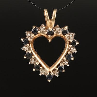 10K Sapphire and Diamond Heart Pendant
