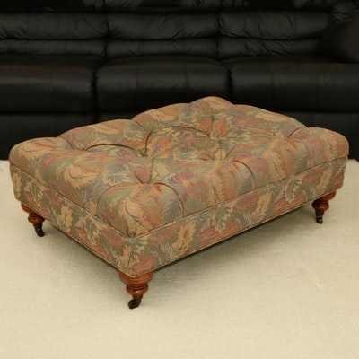 Regency Style Tufted Upholstered Ottoman on Casters
