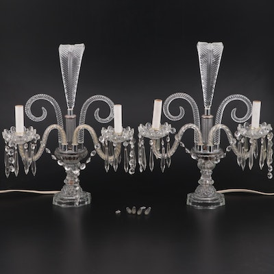 Hollywood Regency Glass Boudoir Lamps, Early/Mid 20th Century