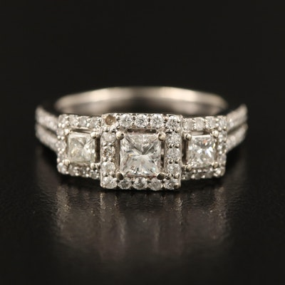 "14K 1.03 CTW Diamond ""Past, Present, Future"" Ring"