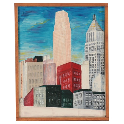 Oil Painting of Cityscape, Late 20th Century