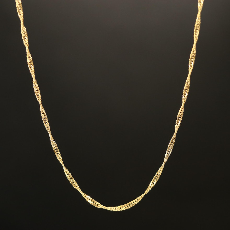 14K Twisted Curb Chain Necklace