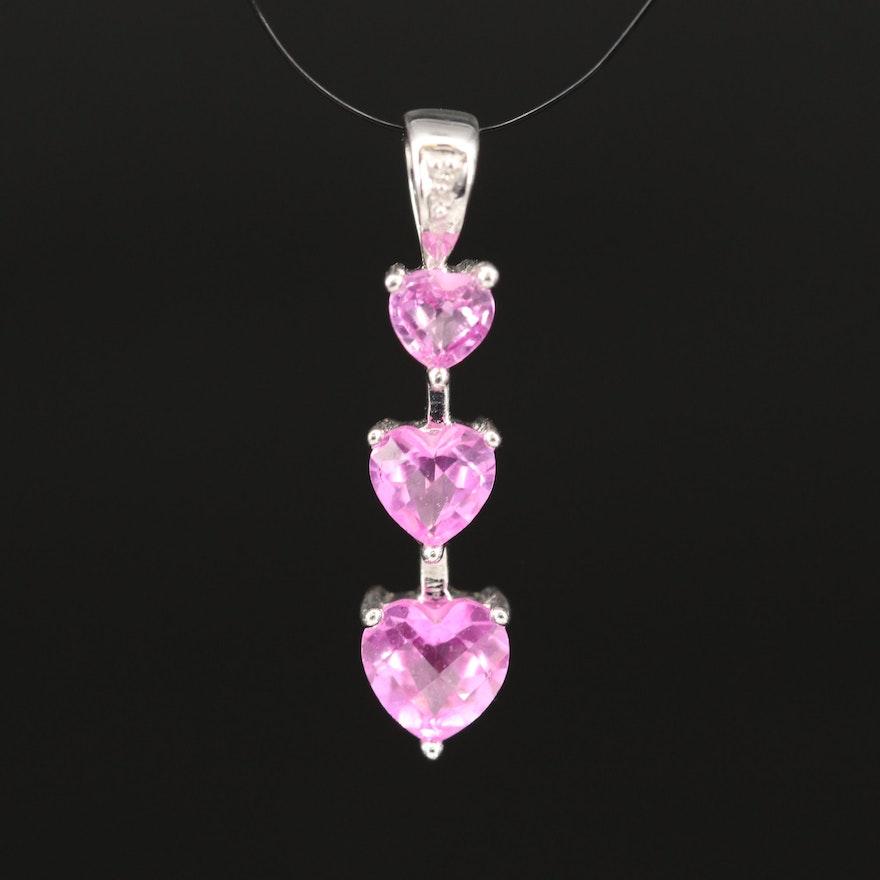 10K Pink Sapphire and Diamond Tiered Heart Pendant