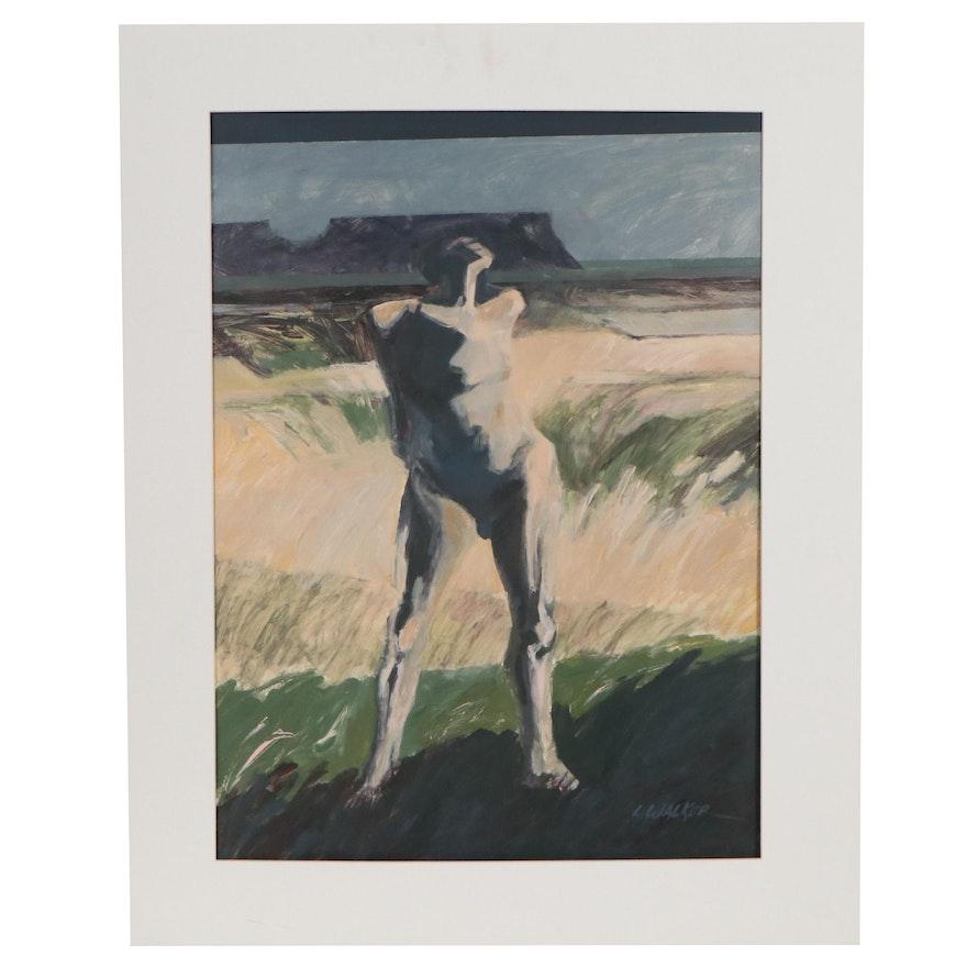 "Larry Walker Oil Painting ""Figure in Landscape,"" Late 20th Century"