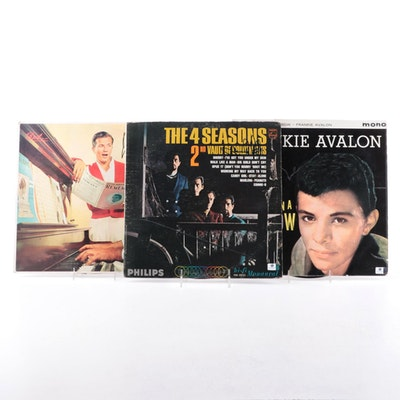 Frankie Valli, Pat Boone and Frankie Avalon Autographed Vinyl Records with COAs