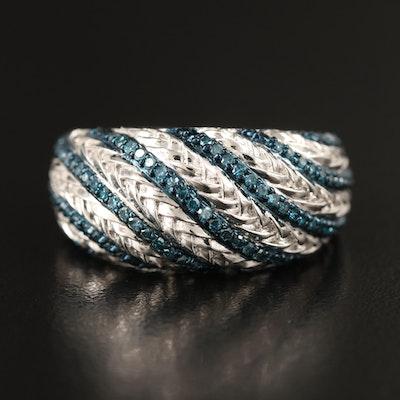 Sterling Pavé Diamond Bombe Ring