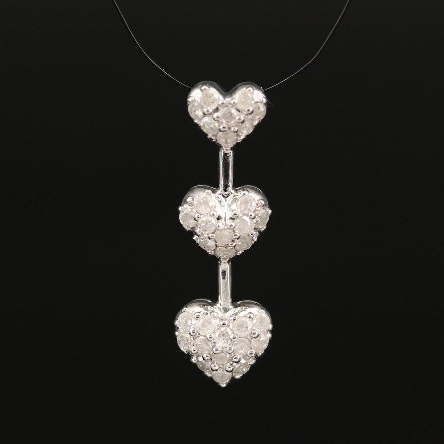10K Diamond Graduated Heart Pendant
