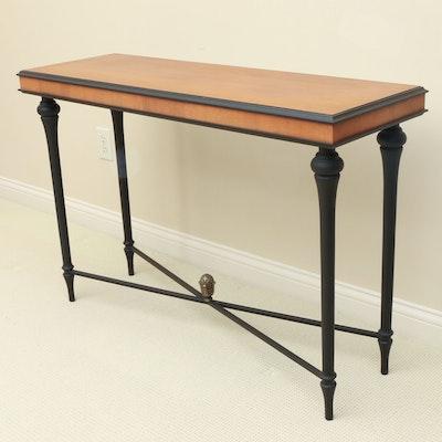The Bombay Company Biedermeier Style Parcel-Ebonized Wood Console Table
