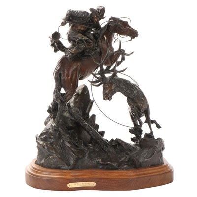 """Ken Payne Cast Bronze Sculpture """"No Time to Dally,"""" 1990"""