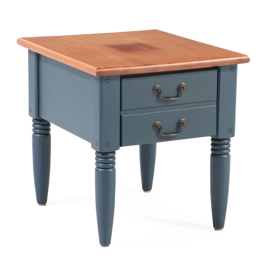 American Primitive Style Parcel-Painted Side Table, Late 20th Century