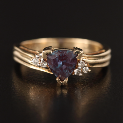 10K Amethyst and Diamond Ring with Fluted Shoulders