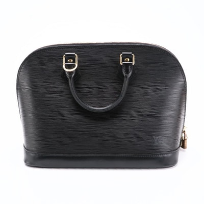 Louis Vuitton Alma PM Top Handle Bag in Black Epi Leather