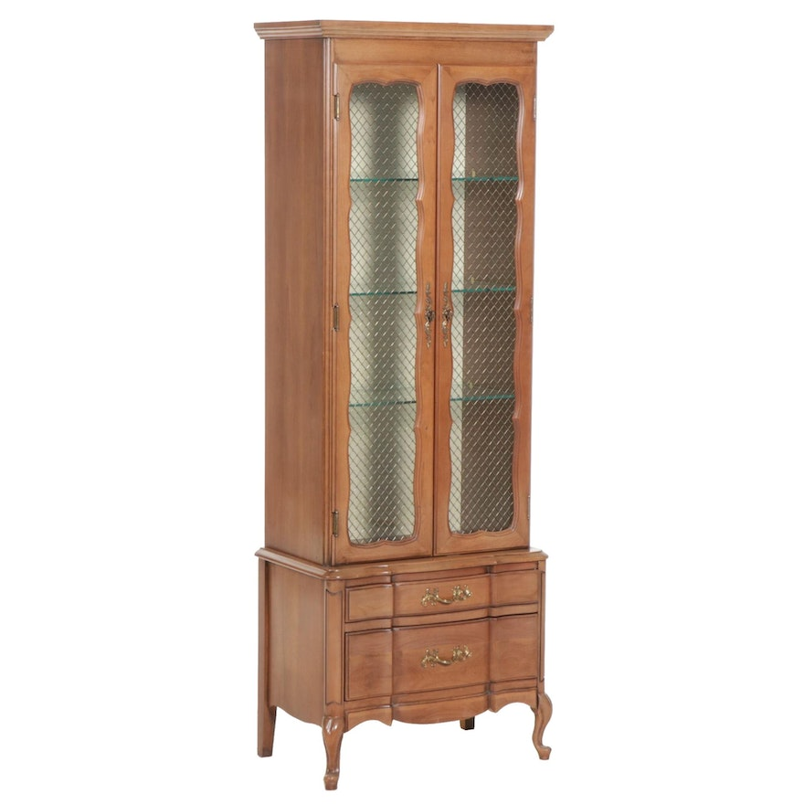 """Permacraft """"Autumn"""" Walnut Curio Cabinet, Mid to Late 20th Century"""